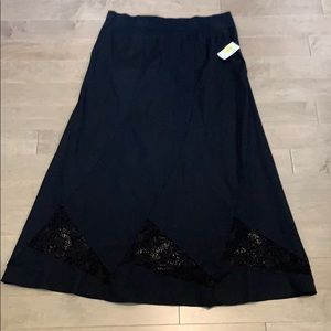XCVI Cotton/Spandex Biased Cut Skirt Lace Accents